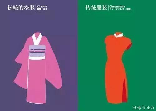 日本衣服的颜色崇尚自然色系;中国衣服的颜色比较鲜艳.